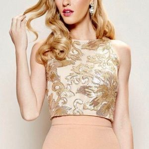 Belle Badgley Mischka Gold Sequin Margot Crop Top